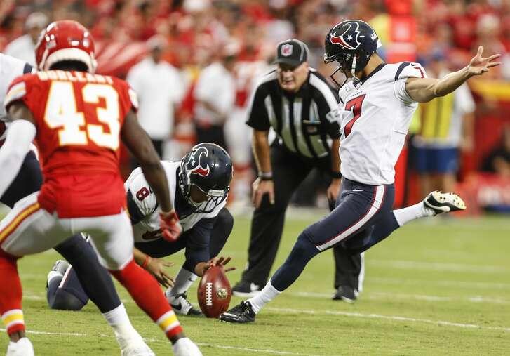Houston Texans kicker Ka'imi Fairbairn (7) kicks an extra point against the Kansas City Chiefs during the second quarter of an NFL football game a Arrowhead Stadium on Thursday, Aug. 9, 2018, in Kansas City.