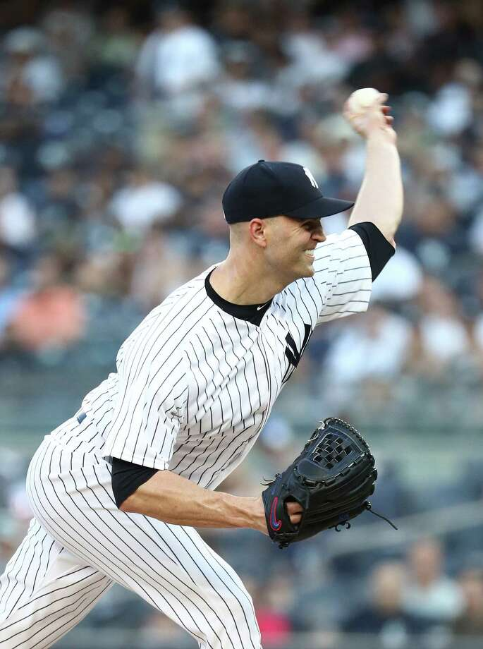 NEW YORK, NY - AUGUST 09:  J.A. Happ #34 of the New York Yankees pitches against the Texas Rangers during their game at Yankee Stadium on August 9, 2018 in New York City.  (Photo by Al Bello/Getty Images) Photo: Al Bello / 2018 Getty Images