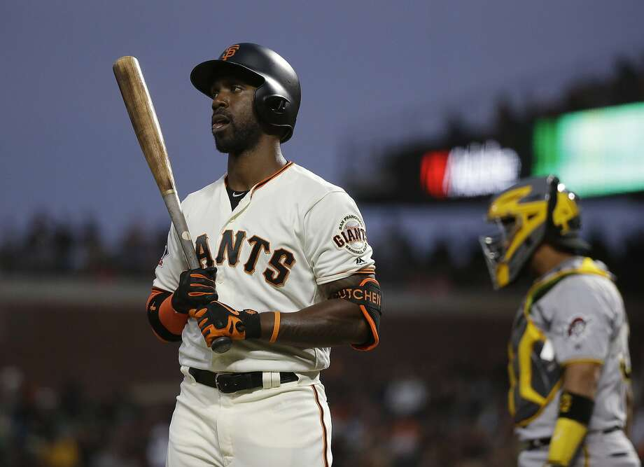 San Francisco Giants' Andrew McCutchen walks back to the dugout after striking out looking against Pittsburgh Pirates starting pitcher Ivan Nova in the fourth inning of a baseball game Thursday, Aug. 9, 2018, in San Francisco. (AP Photo/Eric Risberg) Photo: Eric Risberg, Associated Press