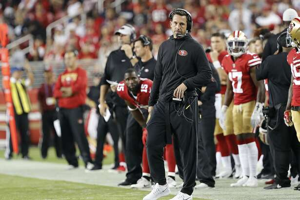 San Francisco 49ers head coach Kyle Shanahan watches from the sideline during the first half of an NFL preseason football game between the 49ers and the Dallas Cowboys in Santa Clara, Calif., Thursday, Aug. 9, 2018. (AP Photo/Josie Lepe)