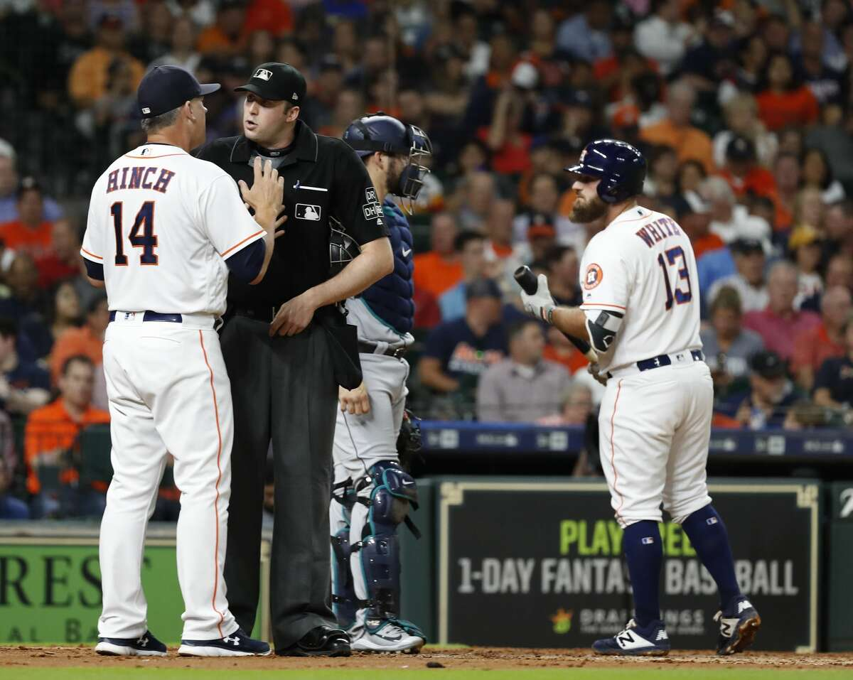 Houston Astros manager AJ Hinch argues with home plate umpire Nic Lentz after Lentz ejected starting pitcher Justin Verlander during the second inning of an MLB game at Minute Maid Park, Thursday, August 9, 2018, in Houston.