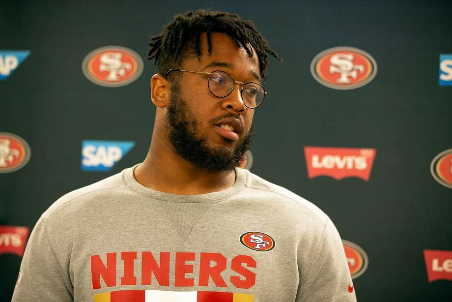 San Francisco 49ers rookie defensive lineman Jullian Taylor speaks to the media following the morning session at training camp, Wednesday, Aug. 1, 2018 in Santa Clara, Calif. Photo: D. Ross Cameron / Special To The Chronicle