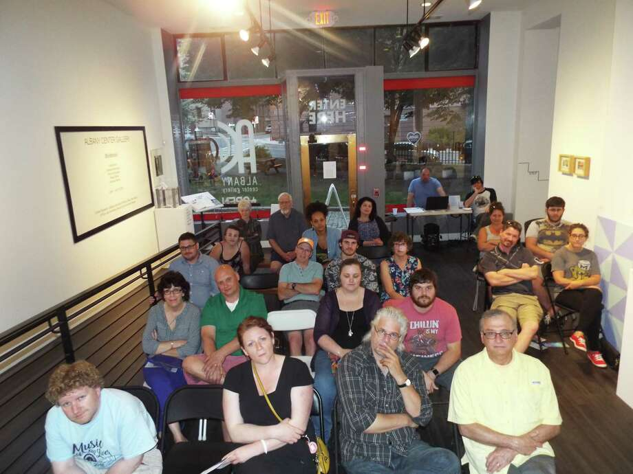 "A photo of the audience of Creative License's production of ""Pool (No Water)"" at Albany Center Gallery in Albany, taken by an actor during the performance in June as part of the show. (Creative License photo.)"
