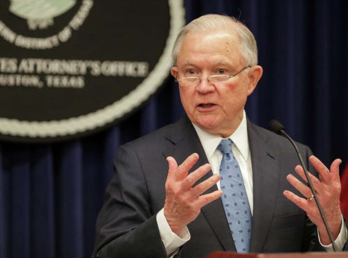 United States Attorney General Jeff Sessions speaks about violent crime, immigration and support for police officers during a press conference at the United States Attorney's Office for the Southern District of Texas, Friday, Aug. 10, 2018, in Houston. >>See how protesters welcomed the AG on his visit to Houston...
