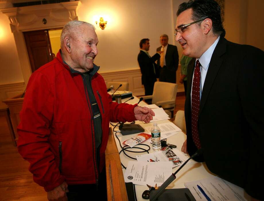 Joseph Prisco, left of Milford, chats with Minority Leader Anthony Giannattasio before a Milford Board of Aldermen meeting Photo: Brian A. Pounds / Brian A. Pounds / Connecticut Post