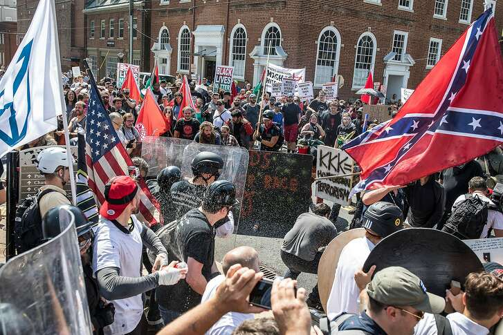 FILE -- Riots at the Unite the Right rally in Charlottesville, Va., Aug. 12, 2018. Corey Stewart, the Republican nominee for Senate in Virginia, likes to engage the racial fringes of his party, creating a dilemma for mainstream GOP leaders wary of his views. (Edu Bayer/The New York Times)