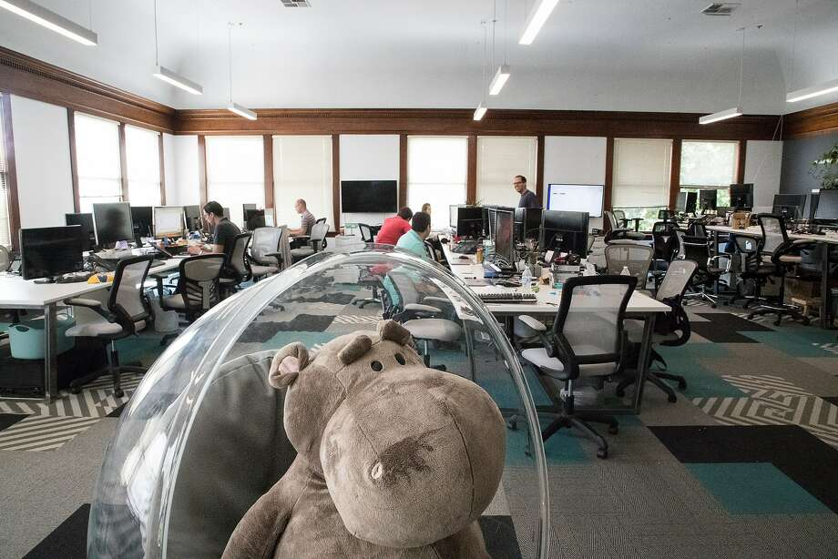 A Hippo Insurance mascot occupies a place of honor at the company's Mountain View office. The company is adding an Alexa app to promote its services. Photo: Photos By Paul Kuroda / Special To The Chronicle