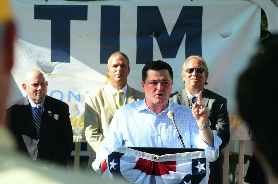 "Republican gubernatorial candidate Tim Herbst speaks to supporters during a ""Clean House in Hartford"" rally on the town green in Southington, Conn., on Thursday Aug. 9, 2018. Herbst was joined by leading Connecticut conservatives supporting his campaign. Photo: Christian Abraham / Hearst Connecticut Media / Connecticut Post"