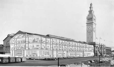 Instead of a 40-story building, plans dated April 16, 1954, called for the World Trade Center to be housed in the northern half of the Ferry Building. Photo: 1954