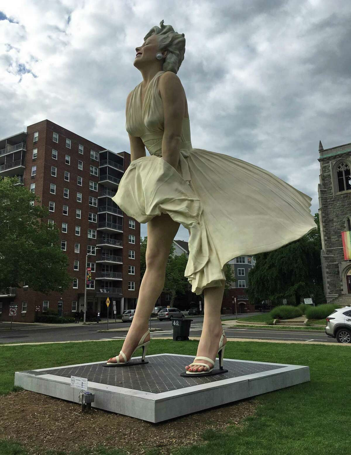 A monumental Marilyn Monroe is rooted at Latham Park in Stamford's, on June 6, 2018. She is in the city through Labor Day as part of a public art exhibition presented by Stamford Downtown Special Services District. She is made by sculptor Seward Johnson. She is made of stainless steel and aluminum.