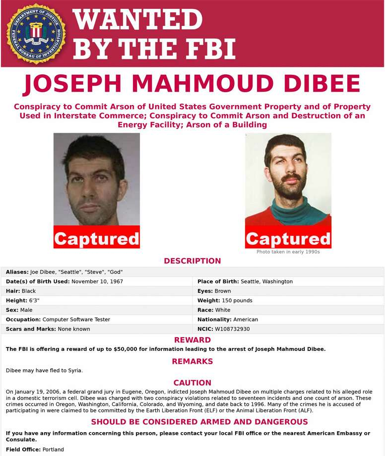 Joseph Mahmoud Dibee, 50, of Seattle, Washington, an accused domestic terrorist and 12-year fugitive, has been apprehended and returned to the United States to face federal criminal charges in Oregon, California and Washington State. Photo: US Department Of Justice