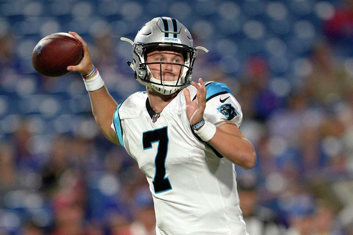 Carolina Panthers quarterback Kyle Allen throws a pass against the Buffalo Bills during the second half of an NFL football game, Thursday, Aug. 9, 2018, in Orchard Park, N.Y. (AP Photo/Adrian Kraus)