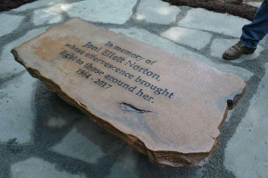 The inscription for Joni Norton at the overlook on Jones Mountain. Photo: Leslie Hutchison / Hearst Connecticut Media