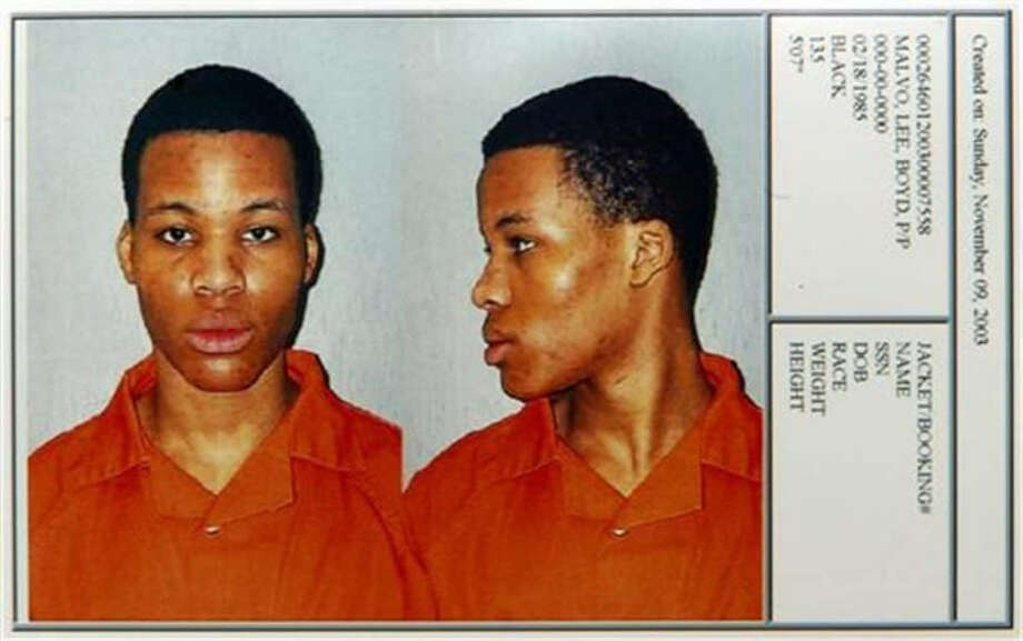 A booking photo for Lee Boyd Malvo, then 18, during his murder trial in Chesapeake, Virginia, in 2003. Photo: Chesapeake Sheriff's Office. / Chesapeake Sheriff's Office