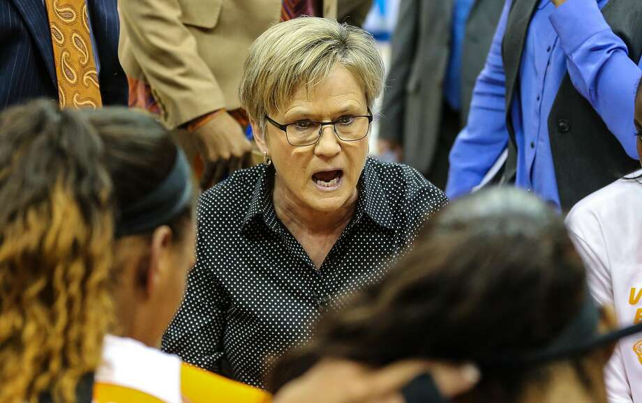 Tennessee head coach Holly Warlick speaks with her team during an NCAA college basketball game against Mississippi State in the Southeastern Conference women's tournament semifinal in Jacksonville, Fla., Saturday, March 5, 2016. (AP Photo/Gary McCullough) Photo: Gary McCullough / AP
