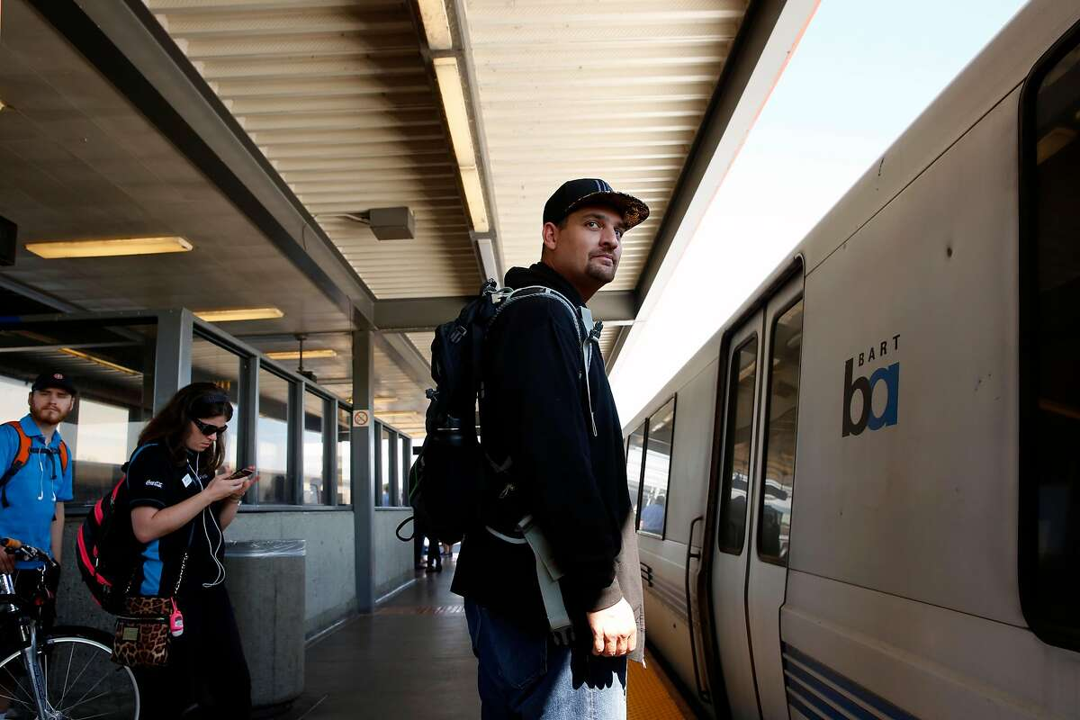 Ben Friedland rides BART from the Fremont station to his work in San Francisco on Wed. August 2, 2017, in Fremont, Ca. Friedland created bartcrimes.com. Friedland, a software engineer used two round trips to write the code that scrapes BART's crime logs and publishes the information on the website he launched on July 18.