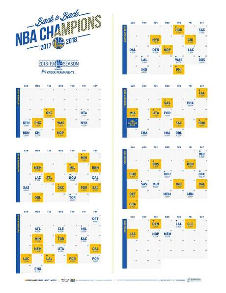 The Warriors released their 2018-19 season schedule Friday. Photo: Courtesy Golden State Warriors