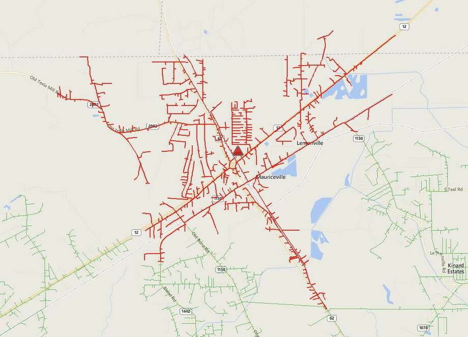 A power outage in the Mauriceville area August 10, 2018.