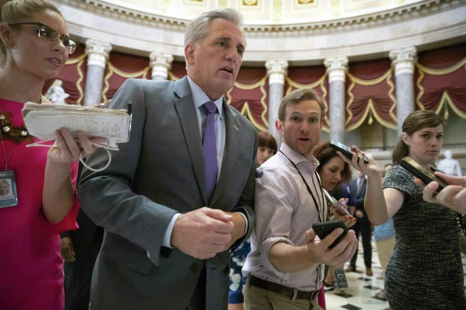 House Majority Leader Kevin McCarthy, R-Calif., speaking to reporters on July 26, has reneged on a promise for a House vote on a guest farm worker program. Photo: J. Scott Applewhite /Associated Press / Copyright 2018 The Associated Press. All rights reserved