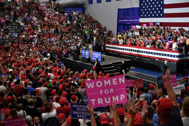 President Donald Trump speaks during a rally at Olentangy Orange High School in Lewis Center, Ohio, on Aug. 4. The GOP has lost its mind — 89 percent of Republicans back Trump though he campaigns on issues that used to be anathema to the party.