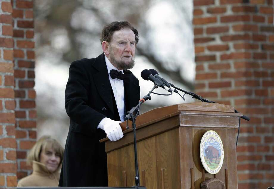 James Getty, portraying President Abraham Lincoln, recites the Gettysburg Address during a ceremony commemorating the 150th anniversary of the historic speech Nov. 19, 2013, in Gettysburg, Pa. A reader says the words in the address have meaning today. Photo: Matt Rourke /Associated Press / AP