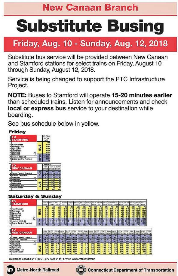 Metro-North will provide substitute busing for select trains Friday through Sunday between New Canaan and Stamford. Photo: Contributed Photo / Metro-North Railroad / Contributed Photo / Connecticut Post Contributed