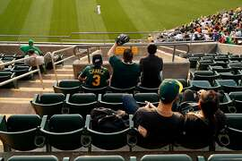 Oakland Athletics' fans watch the A's play Los Angeles Dodgers from right field seats at Oakland Coliseum in Oakland, Calif. on Wednesday, August 8, 2018.