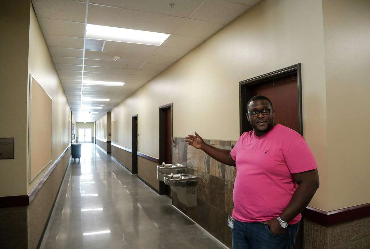 Joshua Brown, principal at International Leadership of Texas, tours the new campus, Friday, Aug. 3, 2018, in Houston.