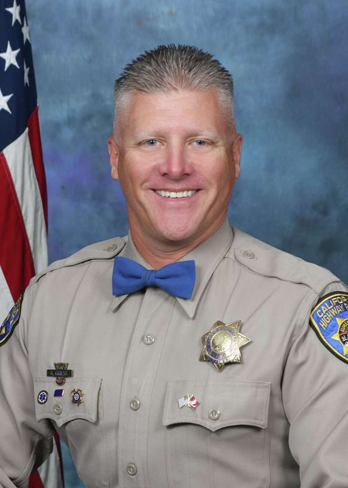 Officer Kirk Griess, of the California Highway Patrol, was killed when he was struck by a pickup truck while conducting a traffic stop on Interstate 80 in Fairfield, Calif. on Friday, August 10, 2018.