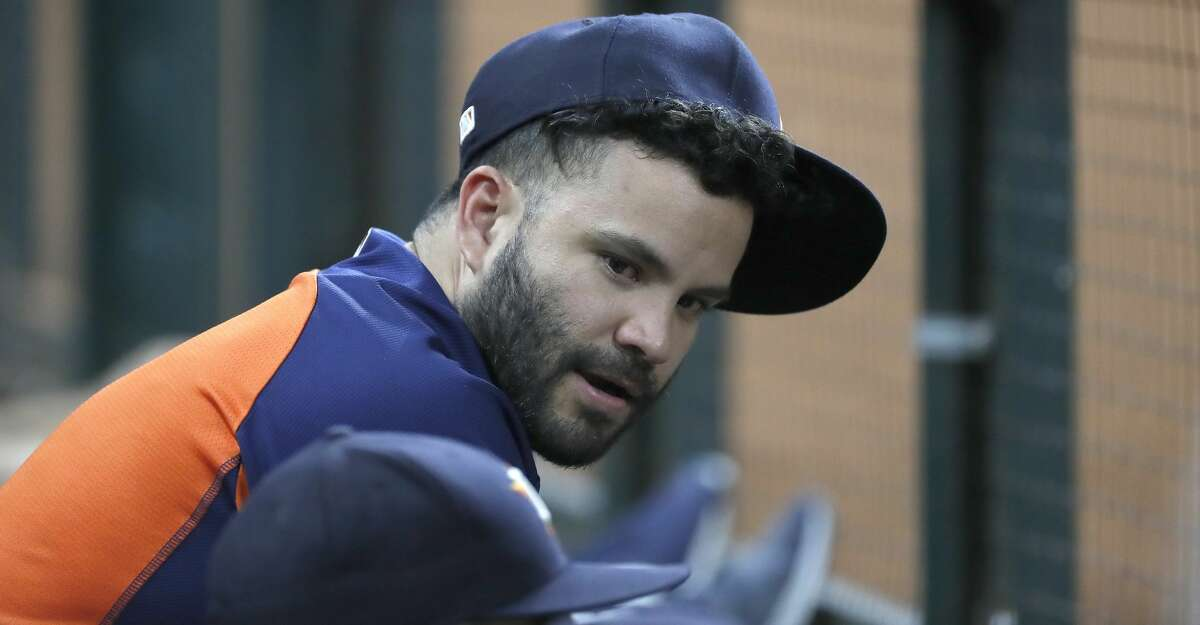 Houston Astros second baseman Jose Altuve (27) in the dugout during the eighth inning of an MLB game at Minute Maid Park, Thursday, August 9, 2018, in Houston.