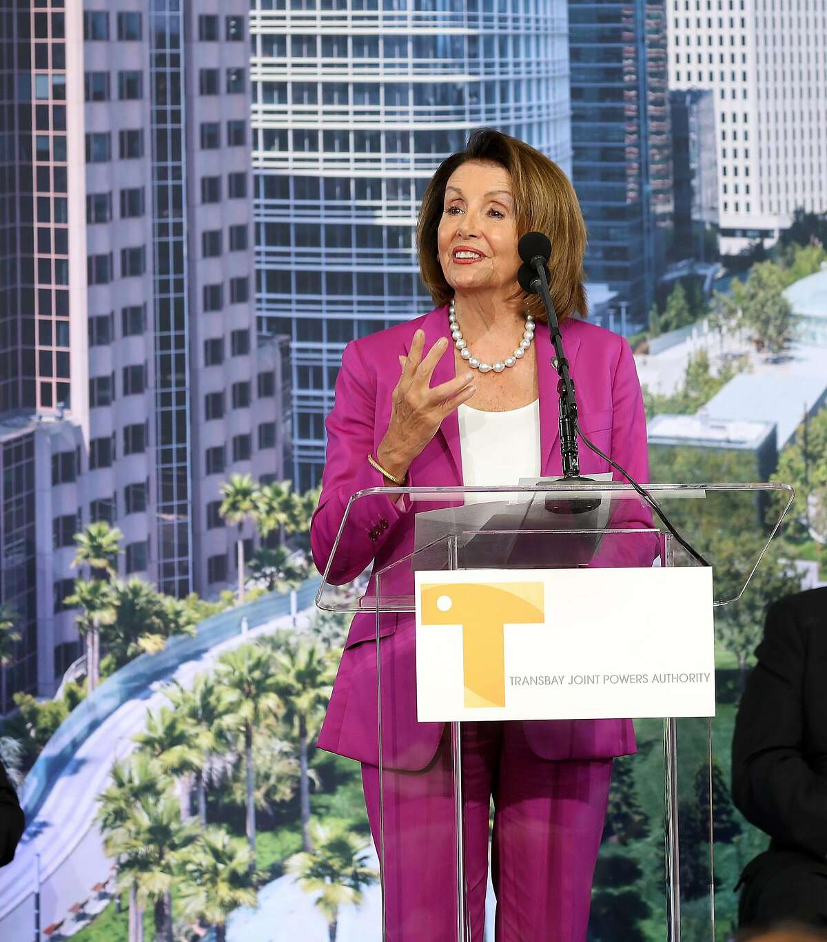 House democratic leader Nancy Pelosi speaks at the ribbon cutting ceremony at the Salesforce Transit Center on Friday, Aug. 10, 2018 in San Francisco, Calif.