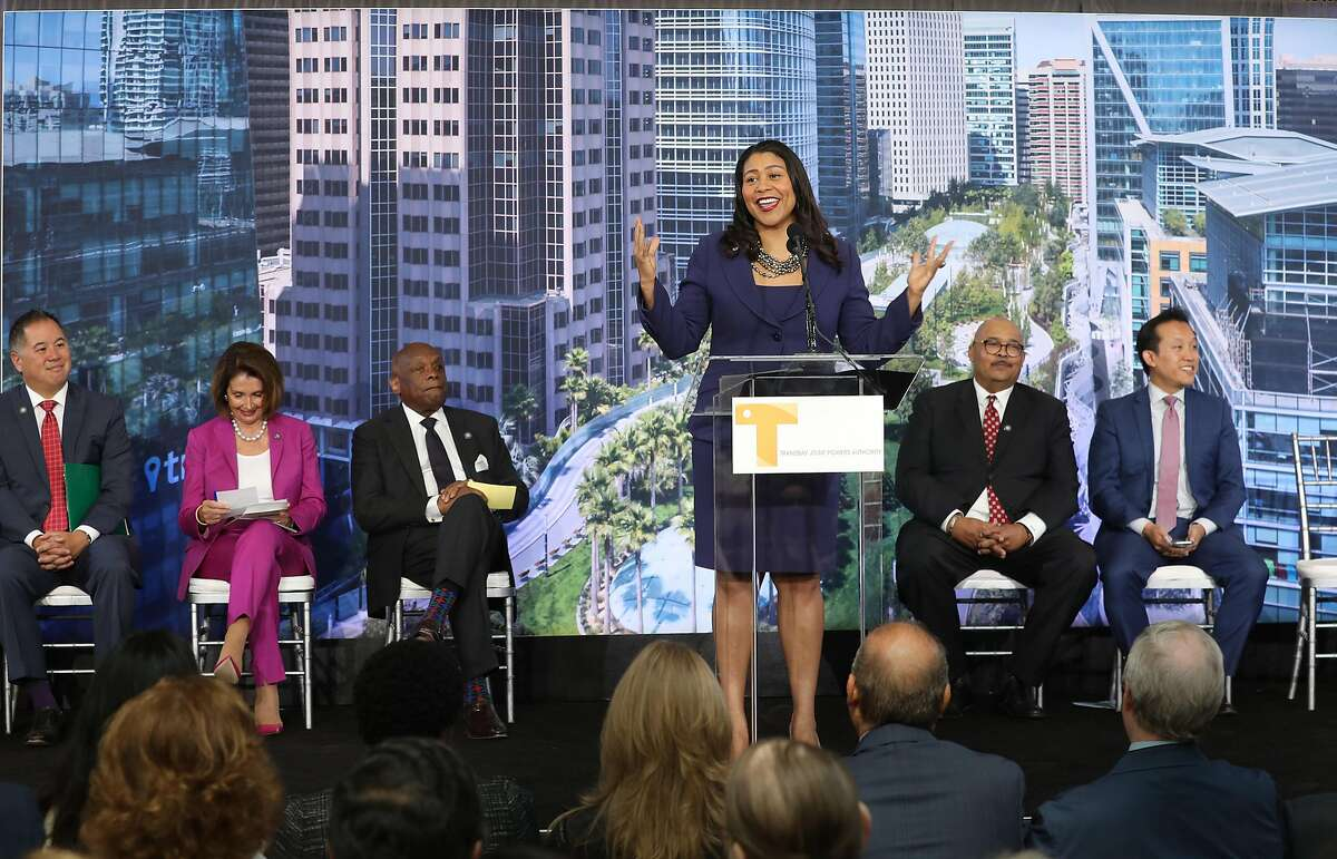 Mayor London Breed speaks at the ribbon cutting ceremony at the Salesforce Transit Center on Friday, Aug. 10, 2018 in San Francisco, Calif.