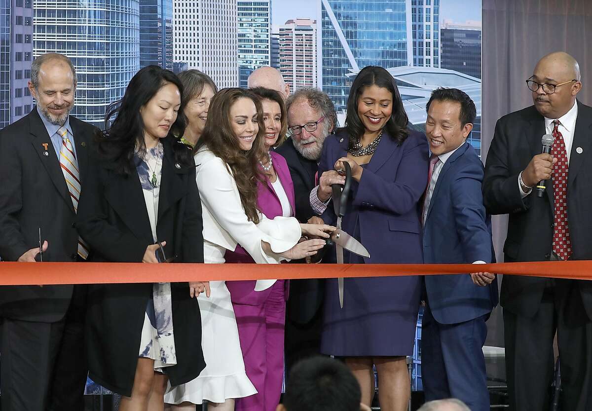 Ribbon cutters included supervisor Jane Kim, house democratic leader Nancy Pelosi, mayor London Breed, assemblymember David Chiu of the 17th district, and Mohammed Nuru at the Salesforce Transit Center on Friday, Aug. 10, 2018 in San Francisco, Calif.