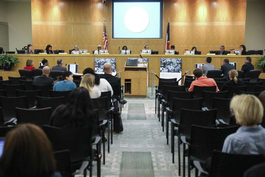 In this April 2018 file photo, the Houston ISD Board of Education meets to consider a proposal to surrender control of 10 schools to an outside organization as part of a plan to avoid state sanctions. (Michael Ciaglo / Houston Chronicle) Photo: Michael Ciaglo, Houston Chronicle / Houston Chronicle / Michael Ciaglo