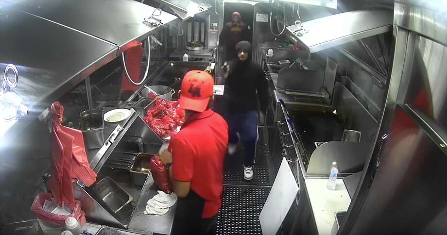 Police are trying to identify three suspects who robbed a Los Angeles food truck at gunpoint. Photo: LAPD