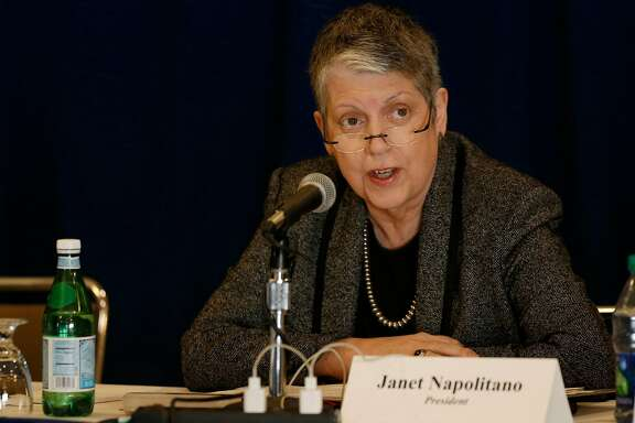 UC President Janet Napolitano speaks before the UC Board of Regents during a meeting at UCLA's DeNeve Plaza on February 23, 2017, in Los Angeles. (Allen J. Schaben/Los Angeles Times/TNS)
