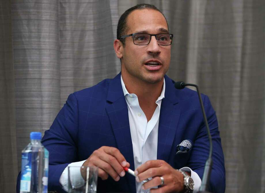 "Boston sports radio host Christian Fauria, a former NFL player, speaks during the ""Changing the Game of Racial Ignorance Toward Asians in Media: Learning from the WEEI Incident"" panel at the Asian American Journalists Association convention on Friday, Aug. 10, 2018, in Houston. The comments were Fauria's first in an open forum since being suspended during February for making racially insensitive remarks. Photo: Yi-Chin Lee, Houston Chronicle / © 2018 Houston Chronicle"