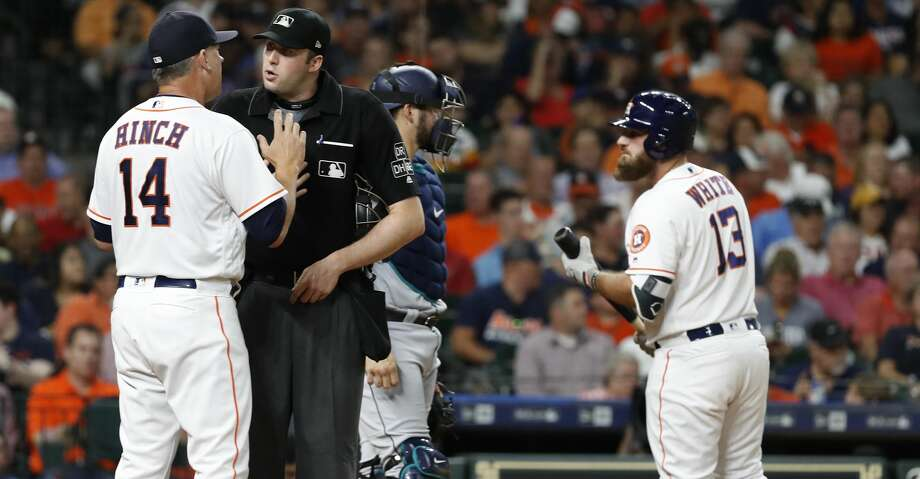 PHOTOS: Astros game-by-game Houston Astros manager AJ Hinch argues with home plate umpire Nic Lentz after Lentz ejected starting pitcher Justin Verlander during the second inning of an MLB game at Minute Maid Park, Thursday, August 9, 2018, in Houston. Browse through the photos to see how the Astros have fared in each game this season. Photo: Karen Warren/Houston Chronicle