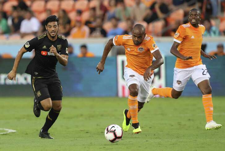 Defender Adolfo Machado, center, and the Dynamo were on the ball when they defeated forward Diego Rossi, left, and Los Angeles FC in the U.S. Open Cup semifinals on Aug. 8 in Houston. The Dynamo, who won that game on penalty kicks, will host the Cup final on Wednesday when they take on the Philadelphia Union.