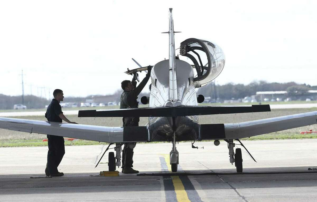 Crews prepare to fly T-6A aircraft at Joint Base San Antonio-Randolph on March 2, 2018.