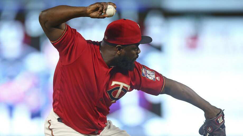 Minnesota Twins pitcher Fernando Rodney fields a grounder against the Tampa Bay Rays in a baseball game Friday, July 13, 2018, in Minneapolis. (AP Photo/Jim Mone) Photo: Jim Mone / Associated Press