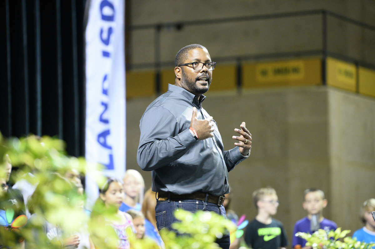 Midland ISD Superintendent Orlando Riddick speaks during convocation Friday at Chaparral Center. MISD trustees voted late Tuesday night to extend his contract for another year.