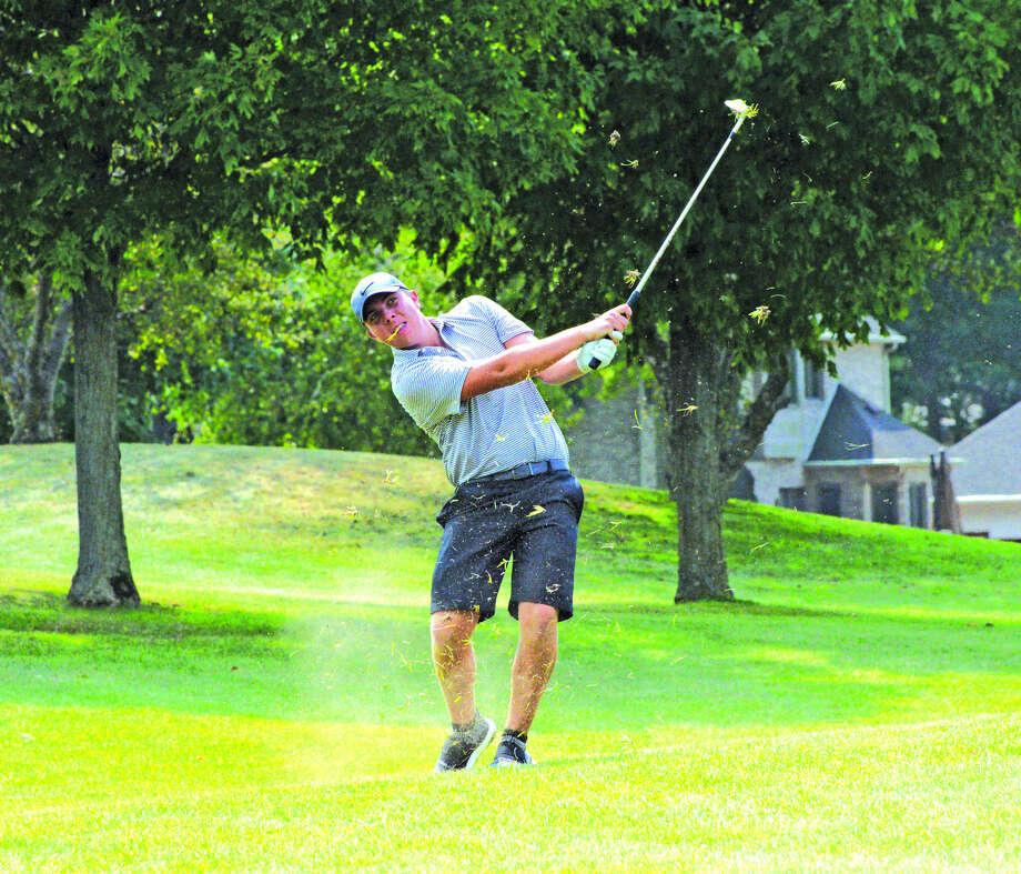 Edwardsville junior Trevor Laub hits his second shot on hole No. 10 on Friday in the Prep Tour Showcase at Senica's Oak Ridge Golf Course in La Salle. Photo: Scott Marion
