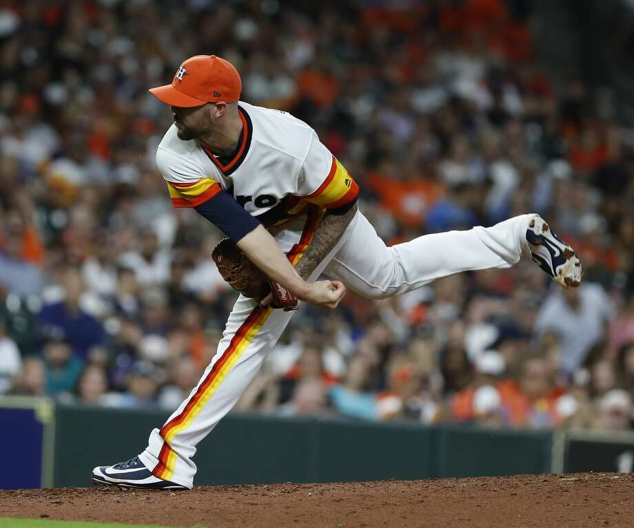 Ryan Pressly has emerged as a key bullpen cog for the Astros after being acquired from Minnesota in late July. Photo: Karen Warren/Houston Chronicle