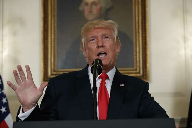 President Donald Trump speaks about the deadly white nationalist rally in Charlottesville, Va., Monday, Aug. 14, 2017, in the Diplomatic Room of the White House in Washington.