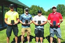 The 13th annual North Huron Athletic Booster Golf Tournament recently took place at Bird Creek Golf Course. The winners were, from left, Kyle Case, Brandon Moore, Justin Hatch and Josh Tschihart. (Submitted Photo)