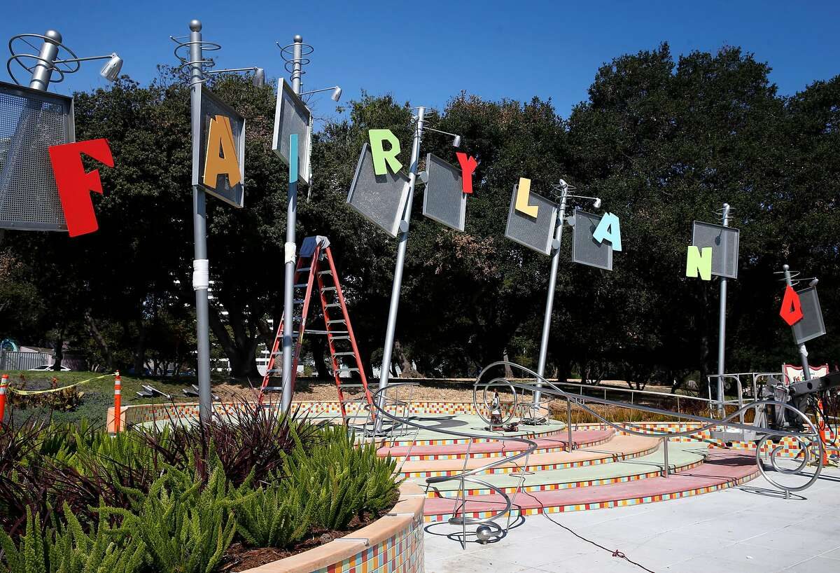 A brand new sign is installed in front of Children's Fairyland at Lakeside Park in Oakland, Calif. on Friday, Aug. 10, 2018. The new sign is the finishing touch on an extensive renovation of Lakeside Park which includes the 68-year-old children's theme park.