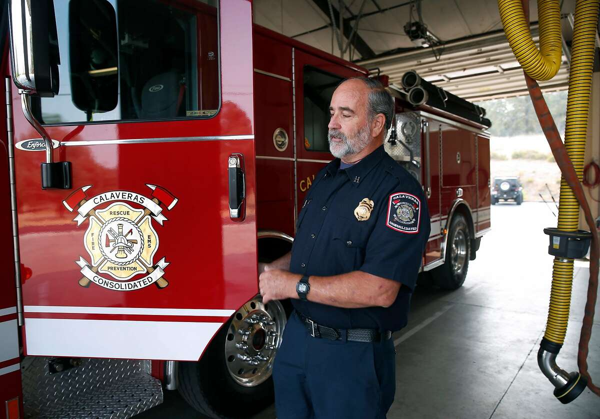 Volunteer firefighter Dick Brown is on duty at the Calaveras Consolidated Fire Protection District�s Station 3 in Valley Springs, Calif. on Tuesday, Aug. 7, 2018. Fire departments throughout California are struggling to recruit volunteer firefighters, which many rural districts rely on.