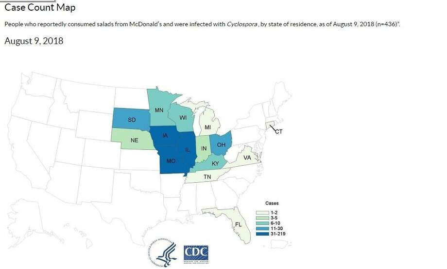 The U.S. Centers for Disease Control and Prevention map showing states where people who reportedly consumed salads from McDonald's and were infected withCyclospora, by state of residence, as of August 9, 2018. Photo: U.S. Centers For Disease Control And Prevention