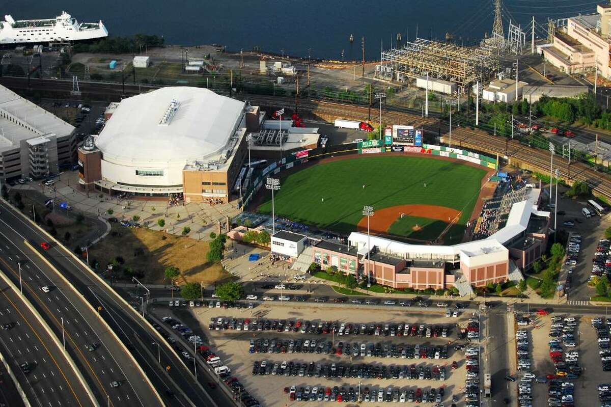 The Arena at Harbor Yard, the Ballpark at Harbor Yard, and the Bridgeport-Port Jefferson Ferry, as seen by Morgan Kaolian AEROPIX Friday evening, July 9th, 2010. An American Idol concert, a Bluefish baseball game and a ferry departure all within the 7 o'clock hour made for heavy traffic on roads feeding into the Harbor Yard and Long Island steamboat dock.